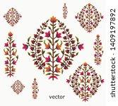 mughal flower motif bunch white ... | Shutterstock .eps vector #1409197892