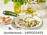 low carb keto carbonara pasta... | Shutterstock . vector #1409201435