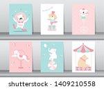 set of cute animals poster...   Shutterstock .eps vector #1409210558