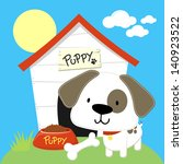 cute puppy and dog house ... | Shutterstock .eps vector #140923522