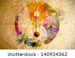 Watercolor Yin Yang Symbol On...