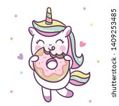 Stock vector cute unicorn vector with donut nursery decoration happy summer holiday baby animal kawaii pony 1409253485