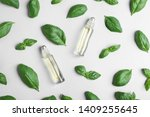 glass bottles with essential... | Shutterstock . vector #1409255645