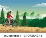 man riding mountain bike on the ... | Shutterstock .eps vector #1409264348