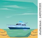luxury double decked yatch fast ... | Shutterstock .eps vector #1409299205
