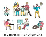 players playing with various... | Shutterstock .eps vector #1409304245