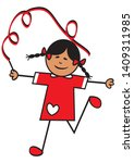 happy girl and ribbon  sports... | Shutterstock .eps vector #1409311985