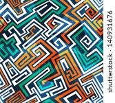 abstract maze seamless pattern | Shutterstock .eps vector #140931676