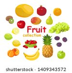 set of fruits and berries...   Shutterstock .eps vector #1409343572