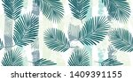 tropical pattern  palm leaves... | Shutterstock .eps vector #1409391155