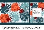 tropical leaves pattern ... | Shutterstock .eps vector #1409396915