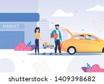 happy family after shopping and ... | Shutterstock .eps vector #1409398682