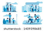 flat cards set with family... | Shutterstock .eps vector #1409398685