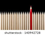 one red pencil standing out... | Shutterstock . vector #140942728