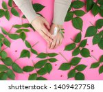 two female hands and  thick...   Shutterstock . vector #1409427758