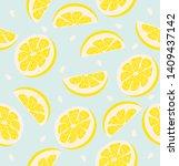 slice of a lemon pattern... | Shutterstock .eps vector #1409437142