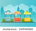 street food cart. urban... | Shutterstock .eps vector #1409440082