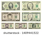 vector cartoon dollar banknotes ... | Shutterstock .eps vector #1409441522