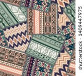 geometric patchwork  ethnic and ... | Shutterstock .eps vector #1409447975