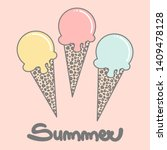 cute colorful han drawn summer... | Shutterstock .eps vector #1409478128