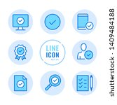 approve vector line icons set.... | Shutterstock .eps vector #1409484188
