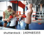 little girl training with coach ...   Shutterstock . vector #1409485355