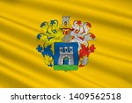 Flag of Kaposvar is a city in the southwestern part of Hungary. 3d illustration
