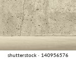 Concrete crack wall and light concrete floor - stock photo