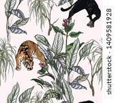 seamless pattern jungle... | Shutterstock .eps vector #1409581928
