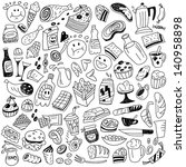 fast food   doodles | Shutterstock .eps vector #140958898