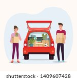 man and woman hold boxes.... | Shutterstock .eps vector #1409607428