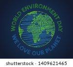 vector vintage poster for world ... | Shutterstock .eps vector #1409621465