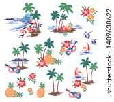 hawaiian tropical shore scenery ...   Shutterstock .eps vector #1409638622