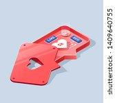 social media flat isometric... | Shutterstock .eps vector #1409640755