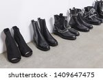 row of five pair black rivets... | Shutterstock . vector #1409647475