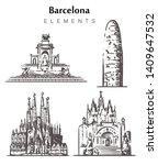 Set Of Hand Drawn Barcelona...
