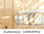 grain bread on wooden table in... | Shutterstock . vector #1409649932