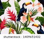 seamless vector floral summer...   Shutterstock .eps vector #1409651432