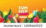 summer sale background with... | Shutterstock .eps vector #1409663525