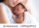 selective focus asian mother... | Shutterstock . vector #1409663912