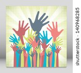 large group of happy hands... | Shutterstock .eps vector #140968285