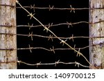 Rusty Barbed Wires Stretched...
