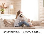 young pretty woman in casual...   Shutterstock . vector #1409755358