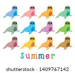 cute seal and sea lion summer... | Shutterstock .eps vector #1409767142