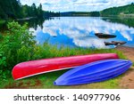 Red And Purple Kayak On The...