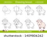 drawing tutorial a cute sheep....   Shutterstock .eps vector #1409806262