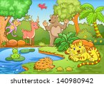 animals in forest. eps10 file   ... | Shutterstock .eps vector #140980942