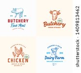 farm meat  poultry and dairy... | Shutterstock .eps vector #1409813462