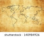 world map on papyrus paper | Shutterstock . vector #140984926