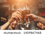 men drinking draft beer and... | Shutterstock . vector #1409867468
